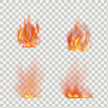 Fiamme di fuoco realistico vettoriale isolato su sfondo trasparente Archivio Fotografico - 59946652