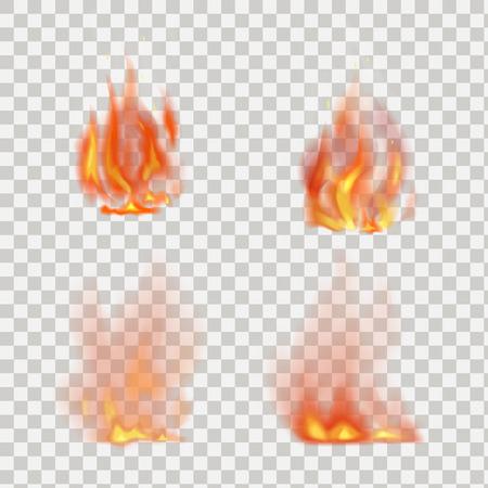 Realistyczne płomienie ognia wektora samodzielnie na przezroczystym tle