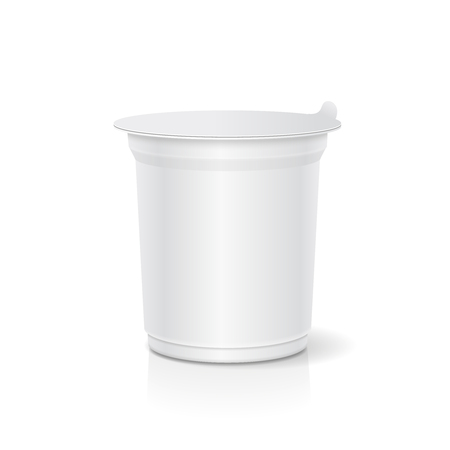 jams: White blank plastic container for sour cream, yogurt, jams and other products. Vector illustration.