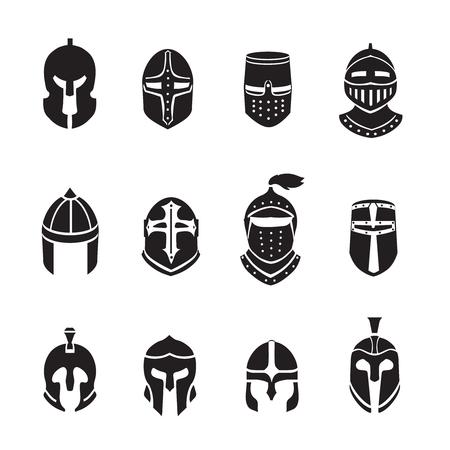 Warrior helmets black icons set. Soldier armor, ancient military, vector illustration Vector Illustration