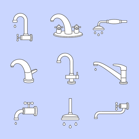 faucet water: Water tap or faucet line icons. Plumbing and equipment, valve and pipe vector set Illustration