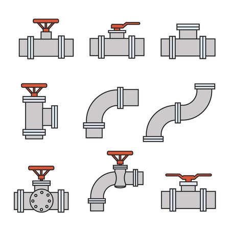 pipe connector: Vector icons of pipe connector, valve for plumbing and piping work.