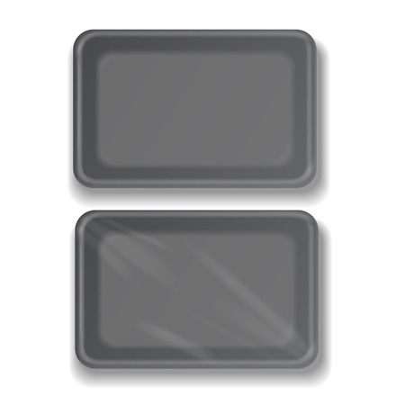 chinese take away container: Empty black plastic food container vector illustration Illustration
