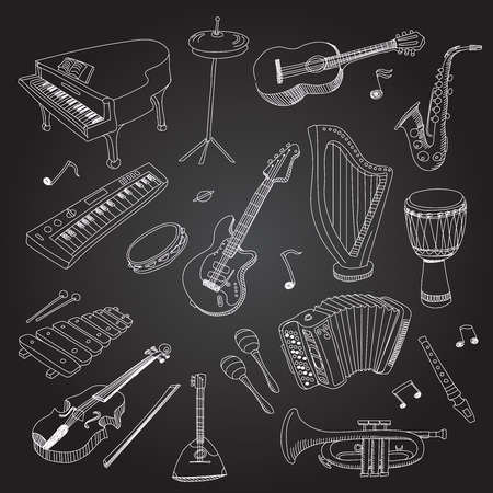 bass drum: Rock and pop music instruments guitar, keyboard, synthesizer, drum pedal, guitar bass, saxophone, xilophone, guitar, violin, drum, harp, Flat vector isolated illustration set.