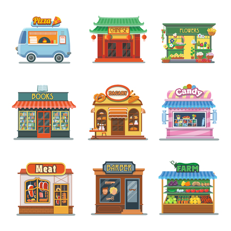 clothing store: Set of nice showcases of shops. Pizza trailer, bakery, candy store, farm products, barbershop, meat shop, bookstore, chinese food, flower outlet. Flat vector illustration set. Illustration