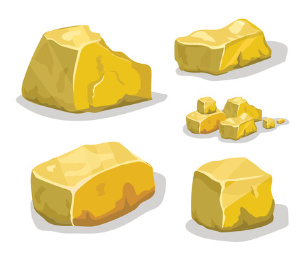 Cartoon golden ore in isometric style. Set of different golden boulders.
