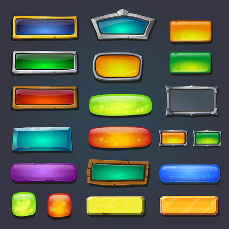 set form: Buttons set, form designed game user interface GUI for game design Options select window. Illustration