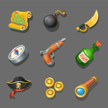 corsair: Pirate icons set. Set of corsair items. Different weapon, compass, coin, gun, sword, and treasure map. For computers or mobile game interface and web graphic design