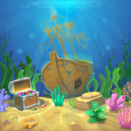 Underwater landscape. The ocean and the undersea world with different inhabitants, corals and pirate chest and sunken ship. Web and mobiles game design or screen savers. Illustration