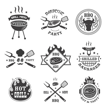 vintage stamp: Barbecue and grill labels set. BBQ emblems and badges collection. Grill tongs forks spatulas roasted meat or sausage menu design elements.