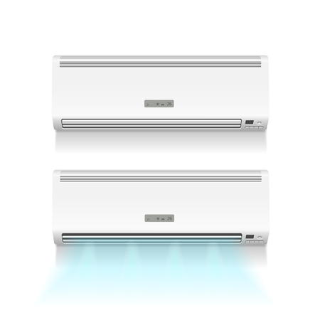 recondition: Air conditioner isolated with cold air on white photo-realistic illustration