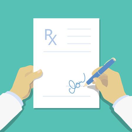 Medical prescription pad flat design style Illustration