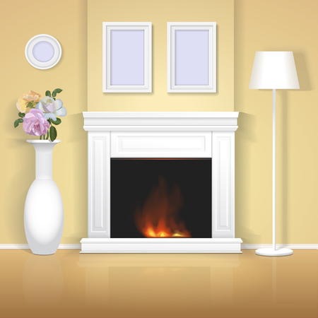 classic house: Classic interior with fireplace illustration. Realistic home design with vase