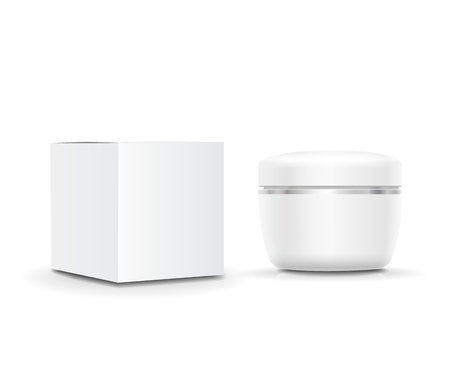 packaging box: White blank cosmetic Cream cream container and packaging box. illustration Stock Photo