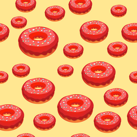 glaze: Donuts dessert with red glaze seamless pattern