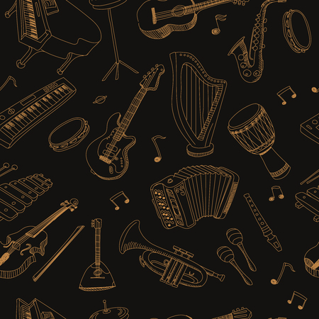 rhythmical: musical instruments seamless pattern with hand drawn doodle elements Illustration