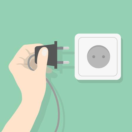 手の電気接続に差し込みます。電気電源プラグを抱きかかえた。電気概念図  イラスト・ベクター素材
