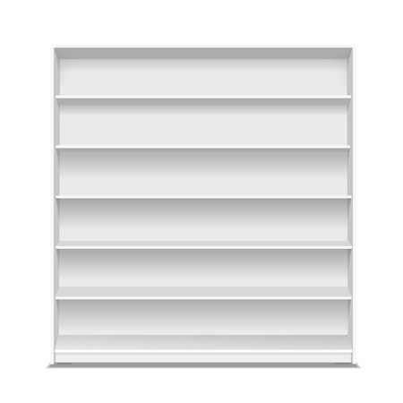 single shelf: Supermarket blank shelf. Empty white long showcase for products on white background. Illustration