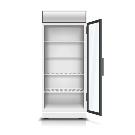 Modern vertical refrigerator with open transparent front panel