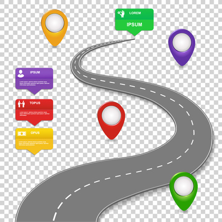 Navigation infographics design. Concept with car road. Roadmap with map pins, sign or markers.