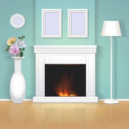 pilaster: Classic interior wall with fireplace with a vase and framed paintings, realistic illustration. Stock Photo