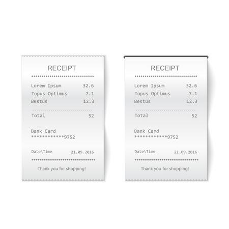 ricevuta stampata di vendita. Controllo finanziario della carta del modello di bancomat, del caffè o del ristorante Vettoriali