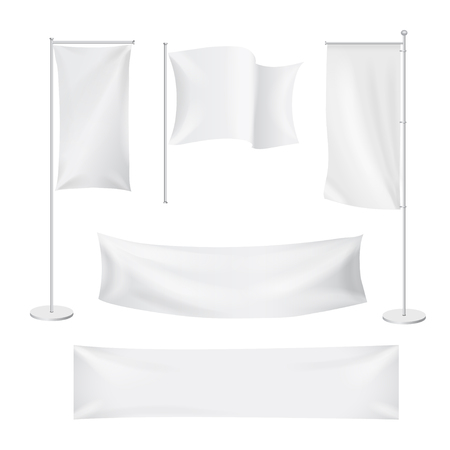 White flags and textile banners folds template set