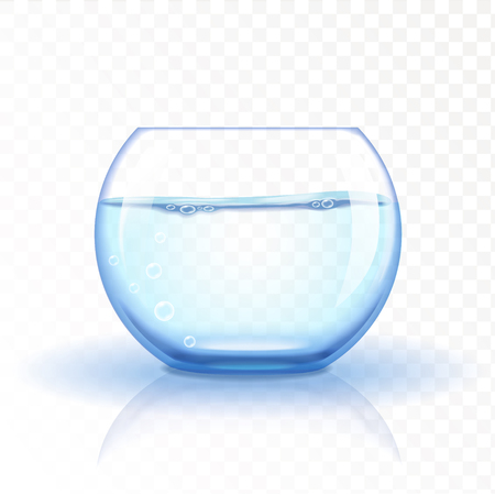 Realistic glass fishbowl, aquarium with water on transparent background.