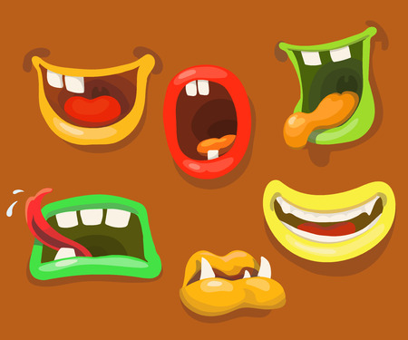 tongues: Cute monsters mouths. Monster expression funny, tongue and teeth Illustration