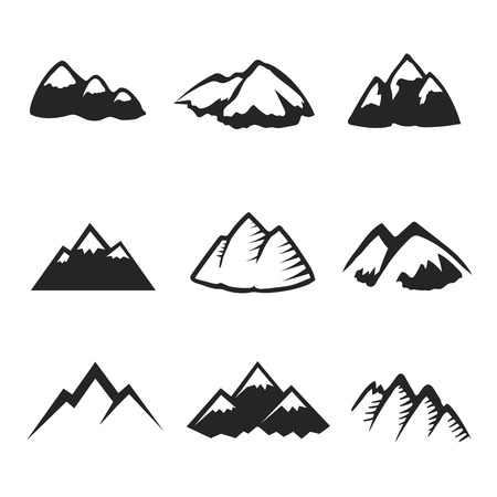 Mountains icons isolated on white