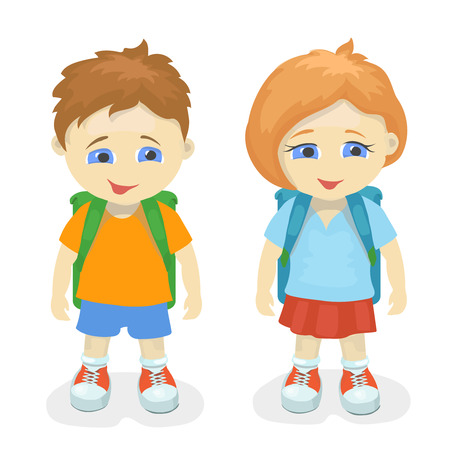 cheerfulness: Boy and girl with backpacks. School kids, education people person