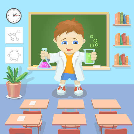 studying classroom: illustration young boy studying chemistry in a classroom Stock Photo