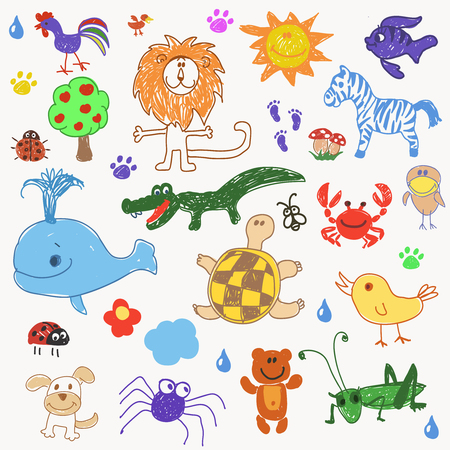 cachalot: Childrens drawing doodle crab, bear, grasshopper, crocodile, fish, animals trees. illustration Stock Photo