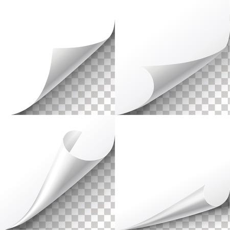 blatt: Locken Papierecken auf transparentem Hintergrund. Blatt Aufkleber, Flip-Kanten, Nachricht leeres Etikett Illustration