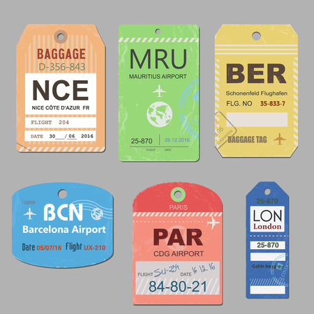travel bag: Retro baggage tags and travel tags stock. Illustration set of tag for baggage