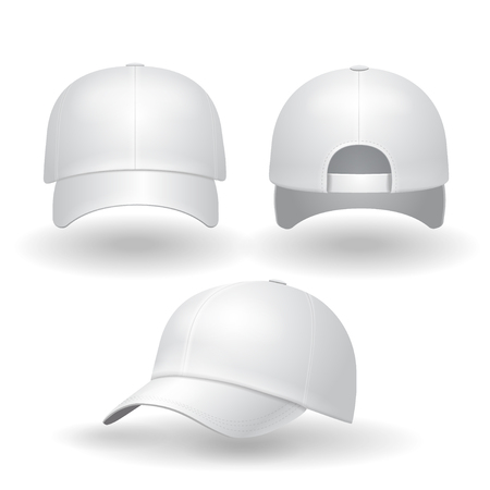 Realistic white baseball cap set. Back front and side view isolated on white background illustration