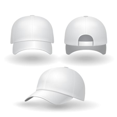 Realistische weiße Baseballmütze gesetzt. Zurück Vorder- und Seitenansicht auf weißem Hintergrund Illustration isoliert Illustration