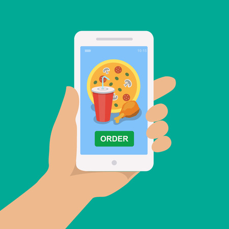 deliver: Hand holding smartphone with pizza, cola and chicken on the screen. Order fast food concept. Flat vector illustration.