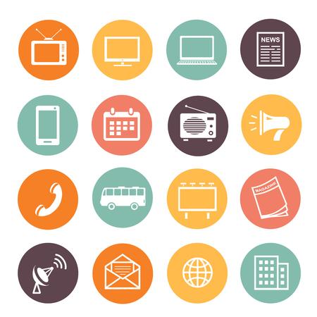social web: Flat design advertising elements icons web development service, social media marketing sings. Illustration