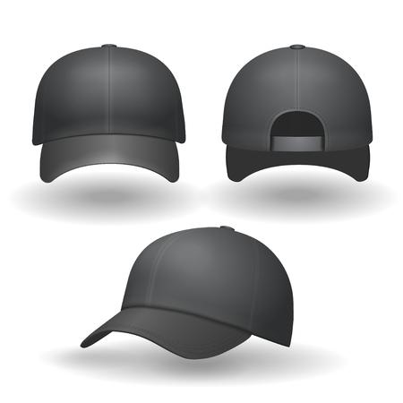 baseball caps: Set of realistic black baseball caps isolated on white background. illustration.