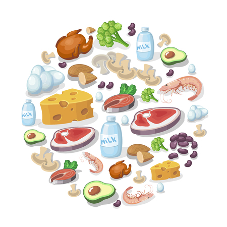 fried shrimp: Flat icons of meat and dairy products, animal and vegetable sources of protein background illustration. Sports nutrition concept