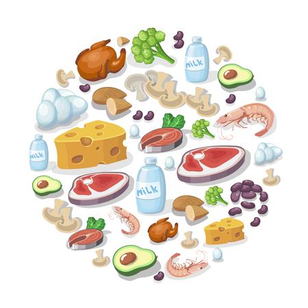 Vlakke pictogrammen van vlees en zuivelproducten, dierlijke en plantaardige eiwitbronnen achtergrond illustratie. Sport voeding concept Vector Illustratie