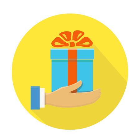 dar un regalo: Icono aislado plana ronda de una mano que sostiene una caja de regalo azul en amarillo