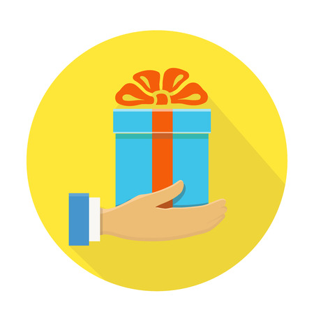 give: Isolated round flat icon of a hand holding a blue gift box on yellow Stock Photo