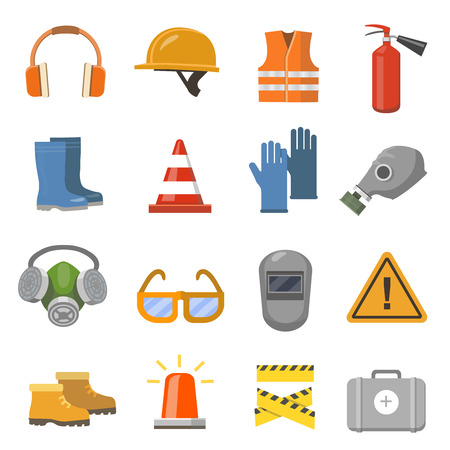 protective: Safety work flat icons set. illustration
