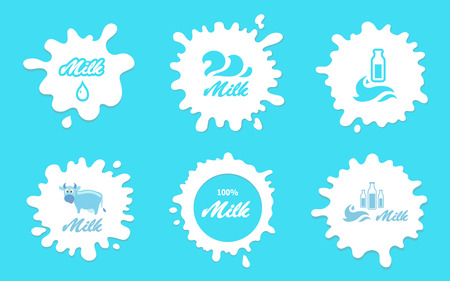 Milk splashes labels or elements for packaging and advertising. Farm products
