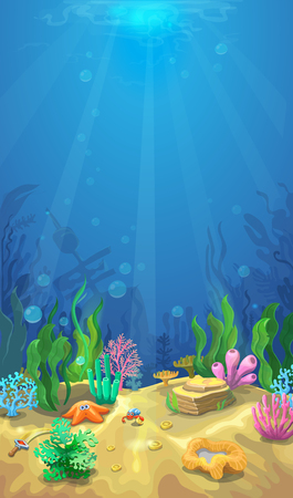 Underwater landscape. The ocean and the undersea world with different inhabitan, Mobile format marine life illustration Vettoriali