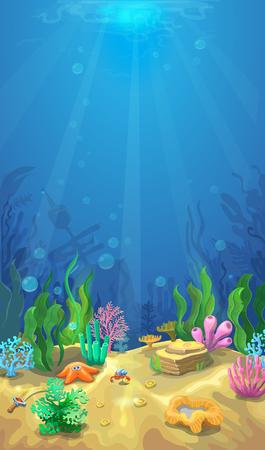 Podwodny krajobraz. Ocean i podmorski świat z inną inhabitan, Mobile format życia morskiego ilustracji Ilustracje wektorowe