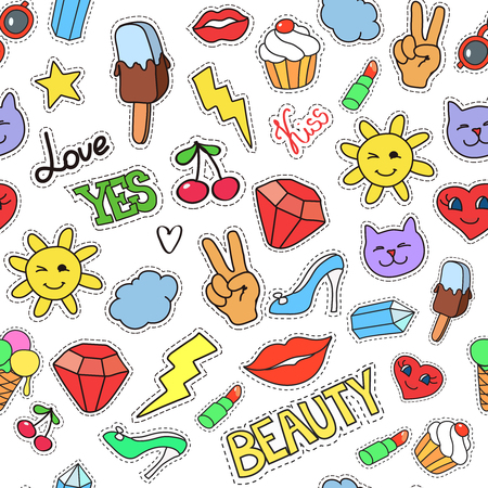 background with stickers, pins, patches. Seamless pattern with fashion patch badges. Lips, hearts, stars in comic cartoon style