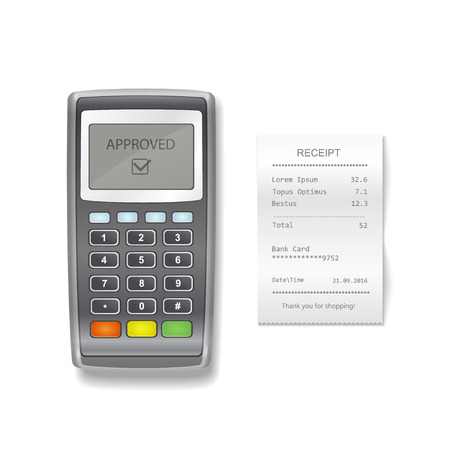 POS terminal and sales printed receipt. payment terminal with financial check realistic illustration